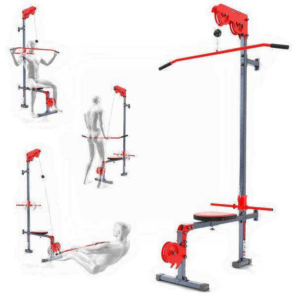 Bezpieczny sprzęt sportowy-Wyciąg treningowy atlas górny+dolny+drążek do ćwiczeń ścienny z siedziskiem KSSL017_VEELES.com