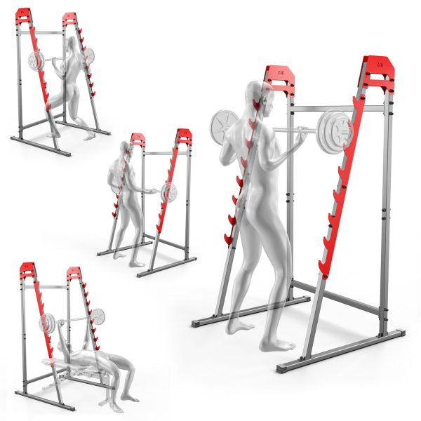 Bezpieczny sprzęt sportowy-Stojaki treningowe do ćwiczeń pod sztangę ławkę z asekuracją KSSL018_VEELES.com