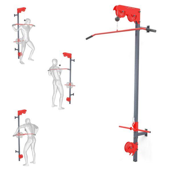 Bezpieczny sprzęt sportowy-Wyciąg treningowy atlas górny+dolny+drążek do ćwiczeń ścienny  KSSL020_VEELES.com