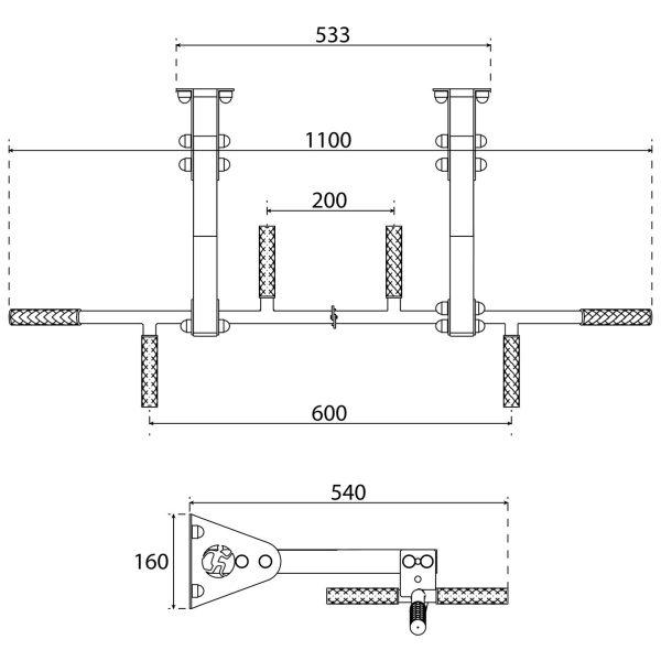 Bezpieczny sprzęt sportowy-Drążek treningowy do ćwiczeń podciągania ściana/sufit KSSL041_VEELES.com1