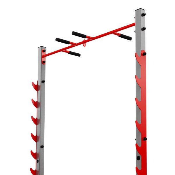Bezpieczny sprzęt sportowy-Stojak treningowy do ćwiczeń pod sztangę ławkę z asekuracją+drążek KSSL023_VEELES.com4