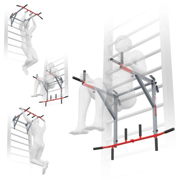 Bezpieczny sprzęt sportowy-Drążek do ćwiczeń podciągania+poręcze na drabinkę uniwersalny 2W1 KSSL080_VEELES.com