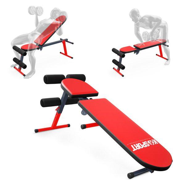 Bezpieczny sprzęt sportowy-Ławka do ćwiczeń brzuszków skośna regulowana składana KSSL024_VEELES.com