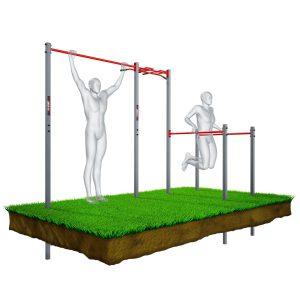 Bezpieczny sprzęt sportowy-Drążek ogrodowy stacjonarny zewnętrzny + poręcze drabinką MONKEYBAR-street workout  KSOZ005_VEELES.com