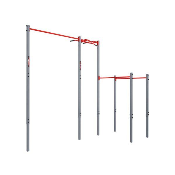 Bezpieczny sprzęt sportowy-Drążek ogrodowy stacjonarny zewnętrzny + poręcze drabinką MONKEYBAR-street workout  KSOZ005_VEELES.com2