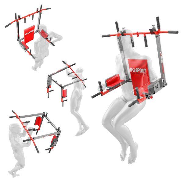 Bezpieczny sprzęt sportowy-Drążek do podciągania ćwiczeń poręcz na ścianę 2W1 KSSL081/2_VEELES.com