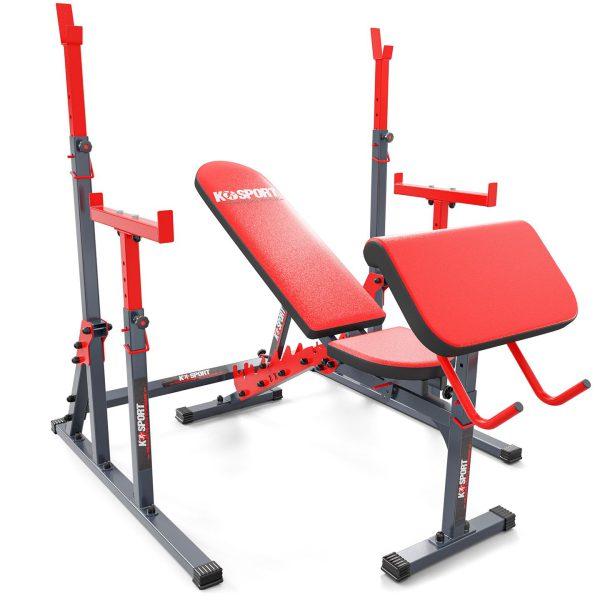 Stojak treningowy z ławką treningową i modlitewnikiem