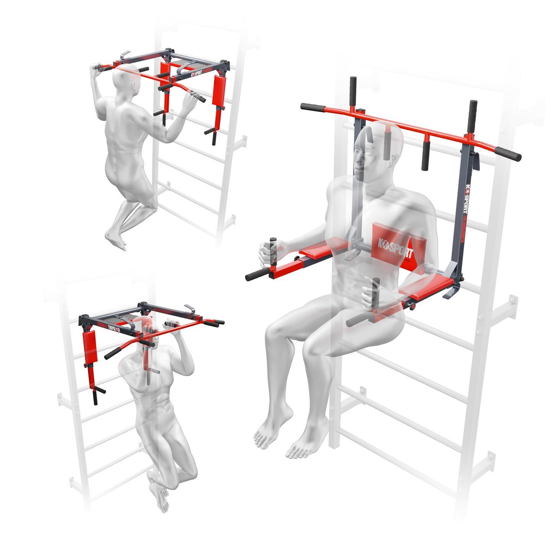 Bezpieczny sprzęt sportowy-DRĄŻEK+PORĘCZ do ćwiczeń podciągania na drabinkę 2W1 KSSL080/3_VEELES.com