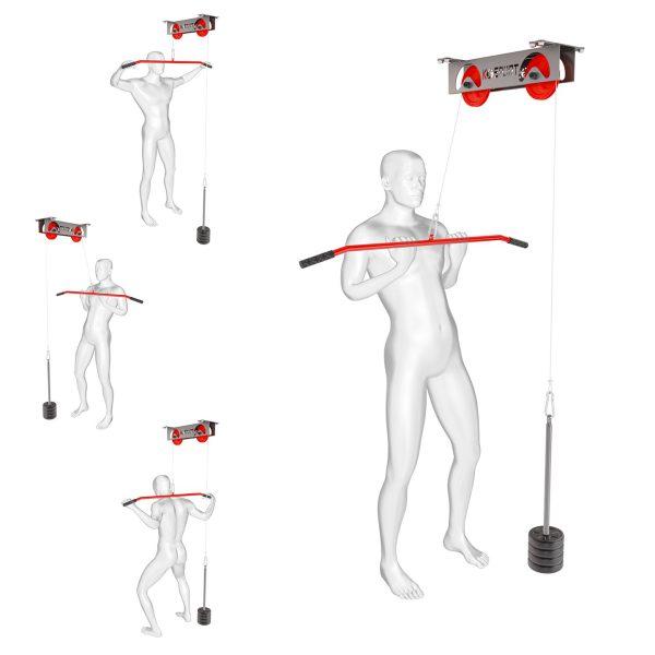 Bezpieczny sprzęt sportowy-Wyciąg treningowy atlas górny+drążek do ćwiczeń sufitowy 250KG KSH013_VEELES.com
