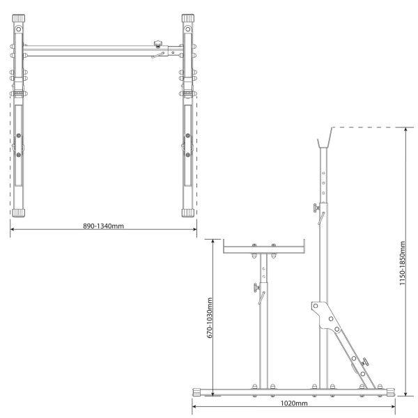 rysunek techniczny stojaka KSSL070