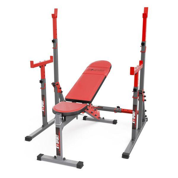 kompletny zesstaw treningowy - regulowana wielopoziomowa lawka ze stojakiem KSSL070