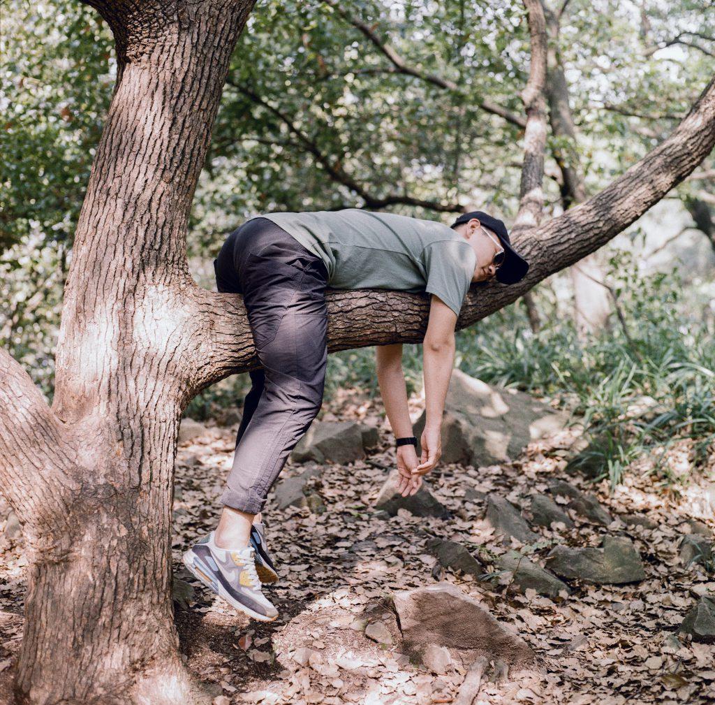 Leniwy dzień - facet leży na gałęzi drzewa